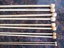 "Bamboo single point knitting needles,sizes 0, 6, 8, 10, 10.5 - 5 sets, 14"" long"
