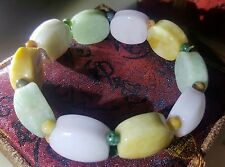 Certified Grade A Multi Color Mens Jade Healthy Life Stretch Bracelet