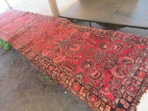 """Large Vintage Red Pink Blue Middle Eastern Hallway Runner Rug Matt 149"""" x 33"""""""