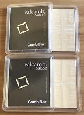 2x 100g Silber Tafel Barren (2 Stück 10x10g) Original CombiBar Valcambi Suisse