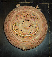 Antique Indian Ethnic Copper Decorative Carved Box Rare Collectible