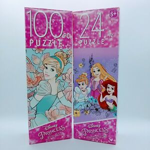 Lot of 2 Cardinal Kid's Puzzles (1) 100 Piece (1) 24~ Cinderella Disney Princess