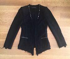 ZARA BLACK FANTASY Studded Tweed Boucle BLAZER JACKET COAT SZ S