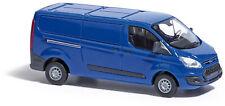 Busch 52401 Ford Transit Custom Box Truck, Blue, Model 1:87 (H0)
