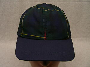 NAVY BLUE/GREEN PLAID - YOUTH SIZE - ADJUSTABLE STRAPBACK BALL CAP HAT!