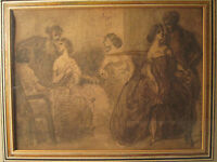 ANTIQUE 19th CENTURY CONSTANTIN GUYS FRENCH INK WASH PAINTING PROSTITUTE BROTHEL