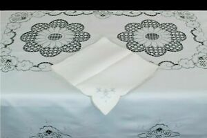 """72x144"""" Polyester Fabric Gray Embroidery Cutwork Tablecloth Napkin Wedding Party"""