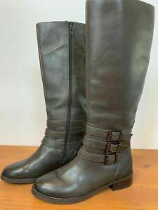 INC Womens Grey Leather Francy Triple Buckle Boots Dark Mink Size 7.5M A2
