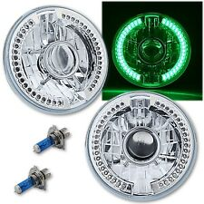 "7"" Green LED Halo Ring Angel Eye 60w Halogen Projector Headlight Light Bulb Pair"