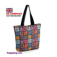 MULTI CHECKED TOTE SHOPPING SHOULDER BAG BEACH HOLIDAY ZIP