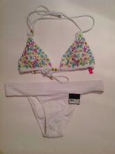 Victorias Secret Swimwear Triangle Top Sequined S Brazilian Bikini M NWT White