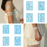 Vintage White Henna Ink Lace Flower Temporary Tattoo Bride Inspired Stickers New