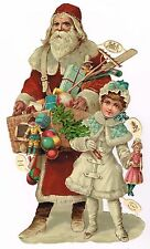 ANTIQUE SANTA FATHER CHRISTMAS die cut gigantic relief RAPHAEL TUCK-GERMANY-MINT