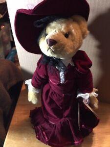 "Figurine~Brass Button Bears Gabrielle 1910's 20th Century w/Stand 14"""