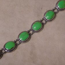 Sterling Silver and Chartreuse Stone Link Bracelet