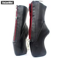 "7"" Super High Heel Hoof Heelless Sole Sexy Lockable Zipper Ankle Ballet Boots C8"