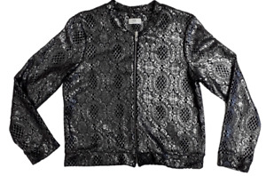 Women Ladies C&A silver coated lace bomber jacket