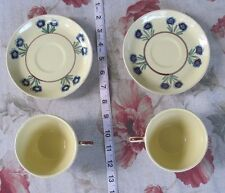 HB Quimper Faience/Cups & Saucers/Soleil Yellow/Lot of 4 (2 Sets)