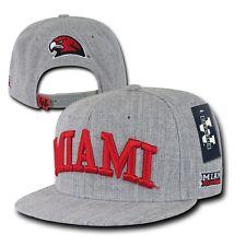 Gray Miami University MU RedHawks NCAA Hawks Flat Bill Snapback Baseball Hat Cap