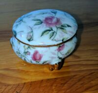 Vintage Floral Ceramic Trinket Box ~Beautiful Detailed Dresser Box~ Roses