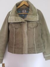 Ladies Fat Face Jacket Coat Cotton Padded Chunky Khaki Size 16