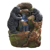 "Grizzly Gulch Black Bears Design Toscano 24"" Garden Fountain With LED Lights"