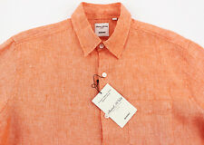 Men's MURANO Orange Linen Shirt L Large NEW NWT HOT!!