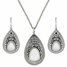 Silverly 925 Sterling Silver Mother of Pearl Teardrop Earrings Necklace Set