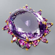 27x21 mm. Size 8 /R133536 Amethyst Ring Silver 925 Sterling 45ct+