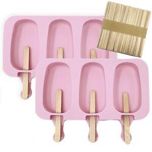 2x Silikon Formen Eis am Stiel Eisform mit Deckel Stieleisform + 100 Holzstiele