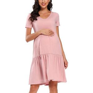 Pregnant Women Dress Short Sleeve Polka Dots Skirt Maternity Nursing Clothing