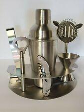 Stainless Steel Bar Set 7 Pc.VGC Stand Mixer Tongs Opener Jigger Knife Cork 🍺
