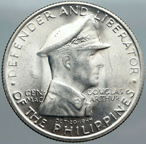 1947 PHILIPPINES w US WWII General DOUGLAS MACARTHUR Vintage Silver Coin i88077