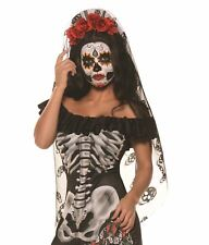 Red Black Day Of The Dead Mantia Red Roses Headband Adult Womens Costume