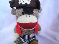 "Gemmy Industry Pirate Singing Sock Monkey 12"" Plush Soft Toy Stuffed Animal"
