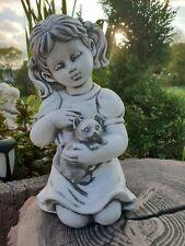 Mädchen mit kleine katze, Gartenfigur, Steinfigur, F0147