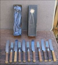 Vintage ROBESON 6 Carbon Steel Knives/5 Forks w/Jigged Bone Handles in Orig. Box