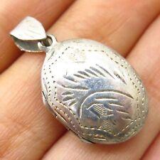 Vintage 925 Sterling Silver Engraved Design Small Oval Locket Pendant