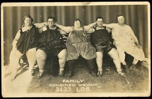3433 LBS  Combined Weight Fat Family Real Photo Postcard / RPPC  BIG PEOPLE