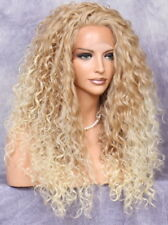 Curly Full Human Hair blend Heat OK Lace Front Wig Blonde mix IER 27-613