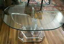 Vintage  Lucite & Small Glass Center Coffee Oval Table