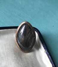 GEORGIAN 15k Rose GOLD Navette HAIR MOURNING RING c1787