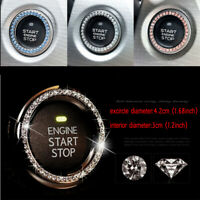 1x 3cm Car Button Start Stop Switch Circular Diamond Ring Decorative Accessories
