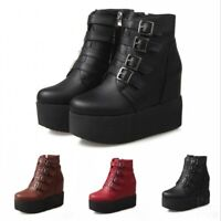 Women's Platform Round Toe Wedge Heels Ankle Boots Punk Lady Zipper Shoes Street