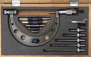 "Mitutoyo 104-137 Interchangeable Anvil Outside Micrometer Set, 0-6"" Range, .001"""