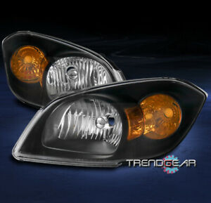 FOR 2005-2010 CHEVY COBALT/2007+ PONTIAC G5 CRYSTAL STYLE HEADLIGHTS LAMP BLACK