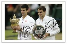 ROGER FEDERER & Novak Djokovic 2015 Wimbledon FINAL firmato Autograph STAMPA FOTO