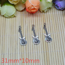 Electric guitar 6pcs Tibetan Silver Charm Pendant Bead Jewellery Making 31x10mm