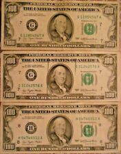 1977 $100 United States Federal Reserve Notes: Lot of Three Notes