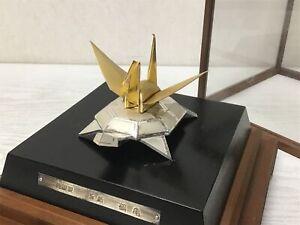 Y1488 OKIMONO Sterling silver crane turtle glass case Japan antique collectible
